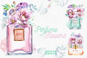 Perfume and flowers clip art