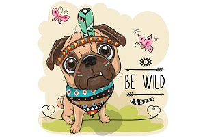 Cartoon tribal Pug Dog and with a