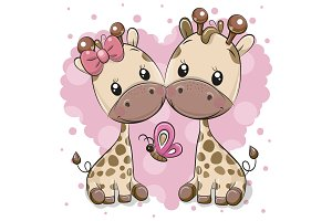 Two Cartoon Giraffes on a heart