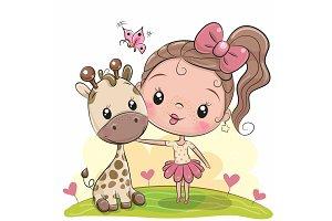 Cute Cartoon Girl with giraffe