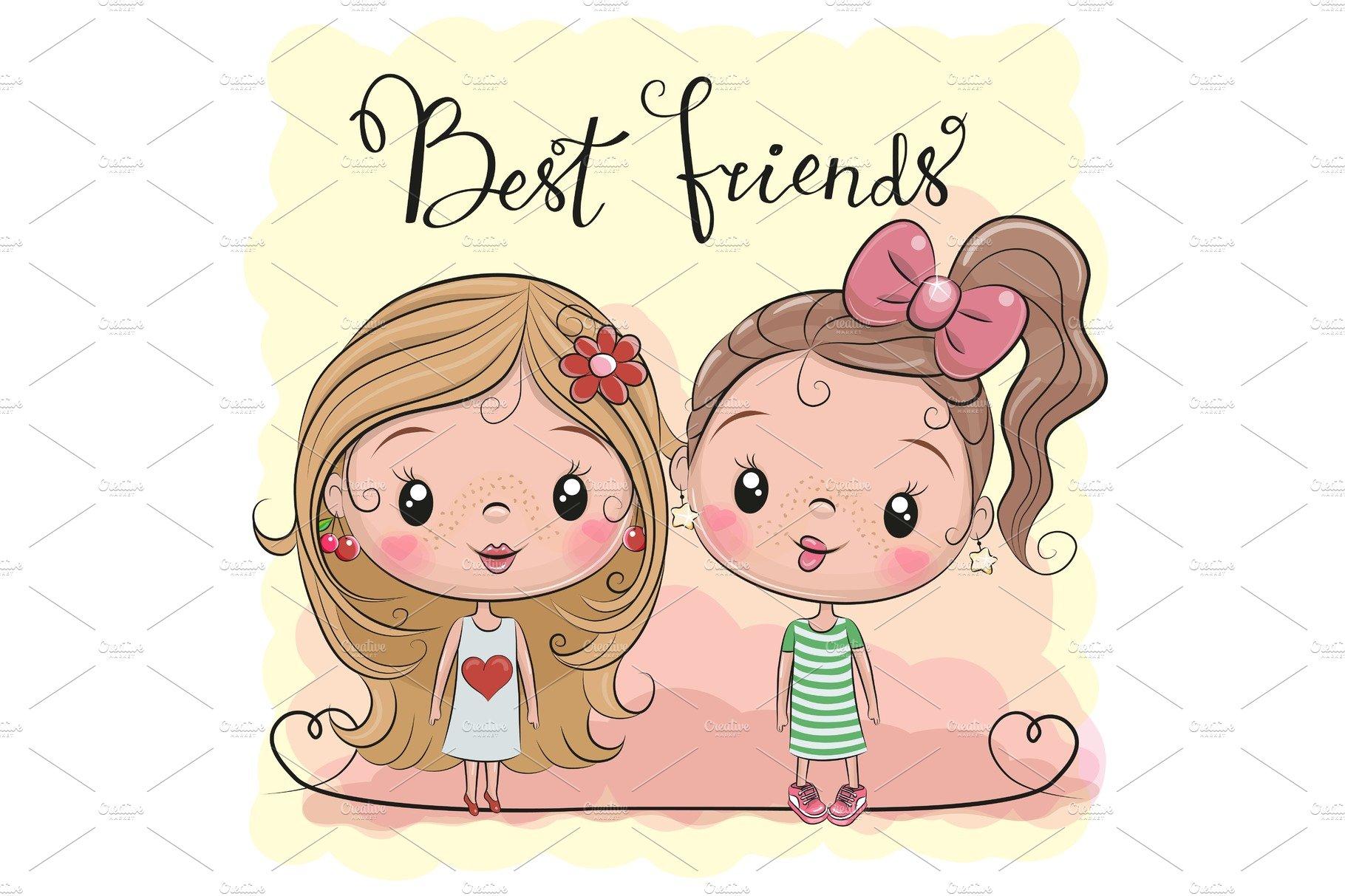 Two Cute Cartoon Girls Pre Designed Vector Graphics Creative Market
