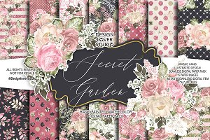 Secret Garden digital paper pack