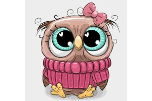 Cute owl in pink sweater