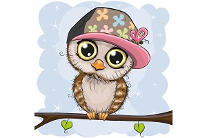 Cute owl in a cap is sitting on a