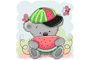 Cute Cartoon Bear with watermelon