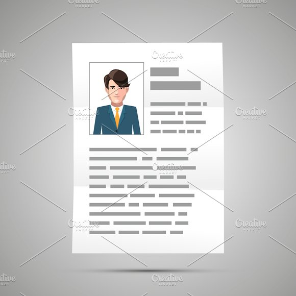 Bright resume with handsome guy