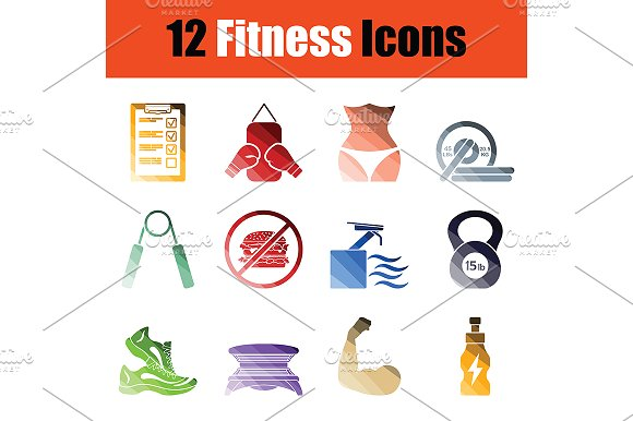 Fitness icon set in Graphics