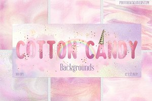 Cotton Candy Digital Papers+clipart