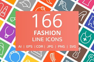 166 Fashion Line Icons