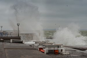 Strong storm on sea