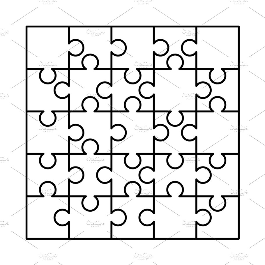 25 White Puzzles Pieces Template Illustrations Creative Market