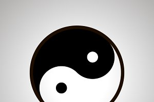 Yin and yang simple black icon