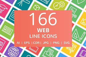 166 Web Line Multicolor B/G Icons