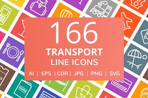 166 Transport Line Icons