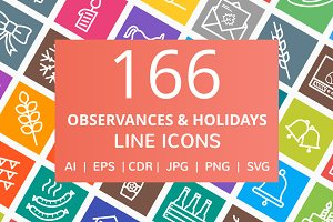166 Observances & Holiday Line Icons