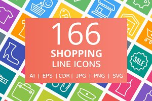 166 Shopping Line Icons