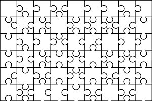 81 white puzzles pieces template