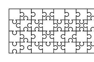 32 white puzzles pieces template