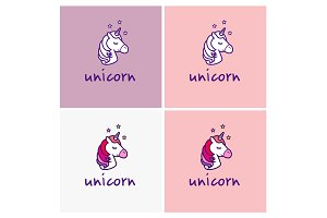 Unicorn logos set