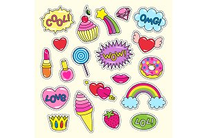 Bright Girlish Stickers in Pink and