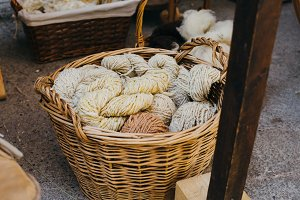 Wool balls in a wicker basket