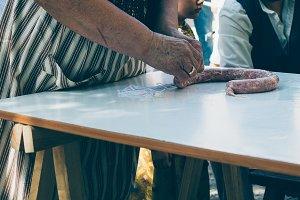 Woman making artisan sausage