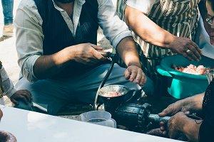 Man making handmade sausage