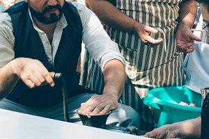 Man making artisan sausage