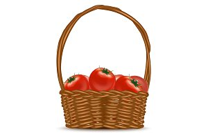 Basket with Red Ripe Tomatoes.
