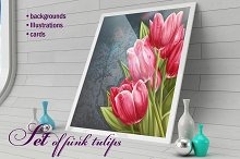 Set of pink tulips