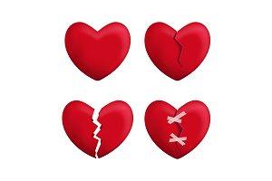 3d Red Broken Hearts Set