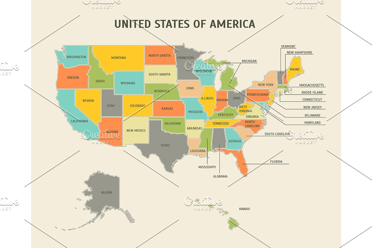 Map Of All States In Usa.Usa Map Card Poster Vector