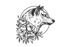 Wolf head animal engraving vector