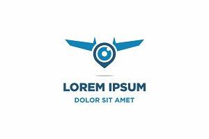 Drone, Camera & Pin Logo Icon Vector