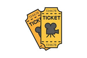 Cinema tickets color icon