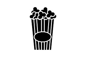 Paper glass with popcorn glyph icon