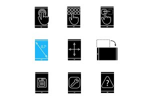 Smartphone glyph icons set