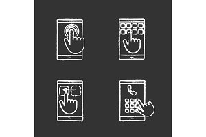Smartphone touchscreen icons set