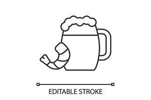 Beer mug with shrimp linear icon
