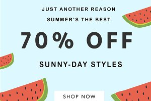 sale banner with seventy percent off