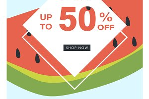 sale banner with fifty percent off