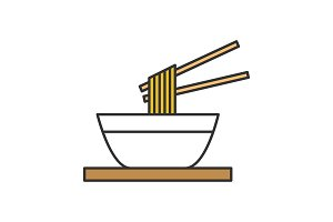 Chinese noodles with chopsticks icon