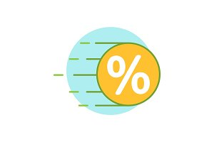 Flying coin with percent color icon