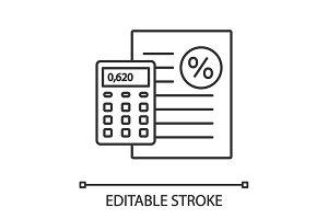 Percentage calculator linear icon