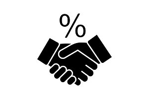 Successful deal glyph icon