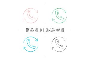 Calling linear hand drawn icons set
