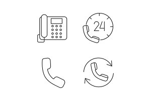 Phone communication linear icons set