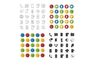 Phone communication icons set