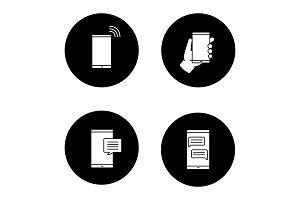 Phone communication glyph icons set