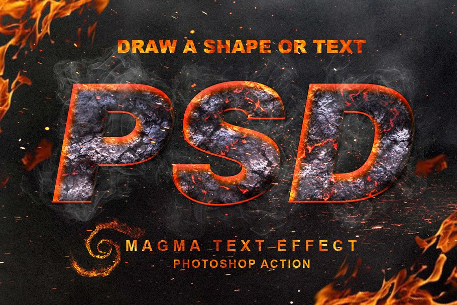 Magma Text Effect Photoshop Action ~ Photoshop Add-Ons